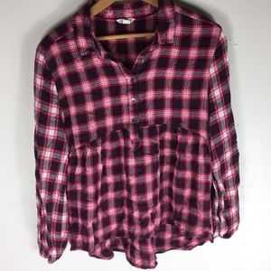Aeropostale Red M Flannel Loose Casual Chic Top